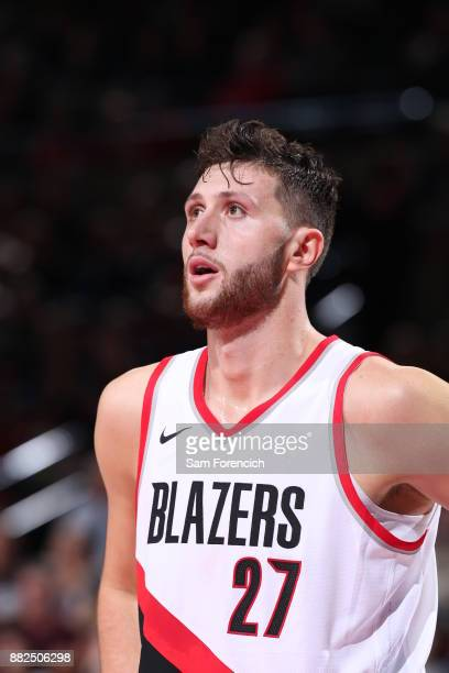 Jusuf Nurkic of the Portland Trail Blazers reacts to a play against the Phoenix Suns on October 28 2017 at the Moda Center in Portland Oregon NOTE TO...