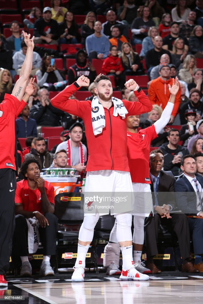 Jusuf Nurkic #27 of the Portland Trail Blazers reacts to a play during the game against the Atlanta Hawks on January 5, 2018 at the Moda Center Arena in Portland, Oregon.