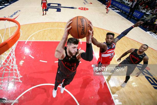 Jusuf Nurkic of the Portland Trail Blazers rebounds the ball against the Washington Wizards on November 18 2018 at Capital One Arena in Washington DC...