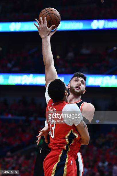 Jusuf Nurkic of the Portland Trail Blazers shoots over Anthony Davis of the New Orleans Pelicans during the first half of Game Four of the first...