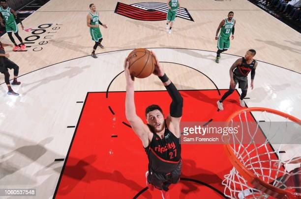 Jusuf Nurkic of the Portland Trail Blazers shoots the ball against the Boston Celtics on November 11 2018 at the Moda Center in Portland Oregon NOTE...
