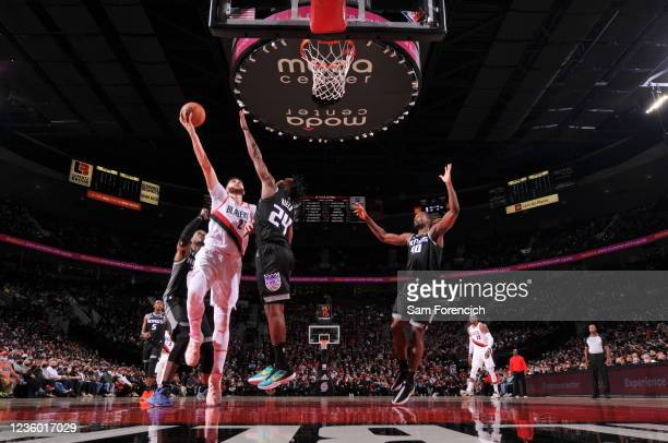 Jusuf Nurkic of the Portland Trail Blazers shoots the ball against the Sacramento Kings on October 20, 2021 at the Moda Center Arena in Portland,...