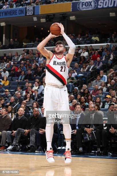 Jusuf Nurkic of the Portland Trail Blazers shoots the ball against the Memphis Grizzlies on November 20 2017 at FedExForum in Memphis Tennessee NOTE...