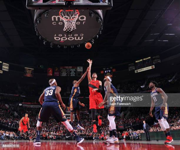 Jusuf Nurkic of the Portland Trail Blazers shoots the ball against the New Orleans Pelicans on December 2 2017 at the Moda Center in Portland Oregon...