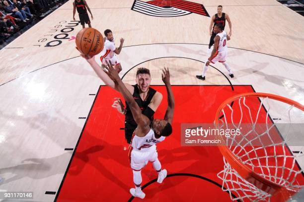 Jusuf Nurkic of the Portland Trail Blazers shoots the ball against the Miami Heat on March 12 2018 at the Moda Center in Portland Oregon NOTE TO USER...