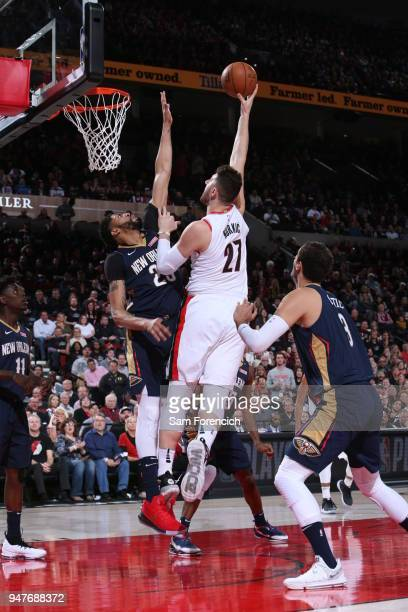 Jusuf Nurkic of the Portland Trail Blazers shoots the ball against the New Orleans Pelicans in Game One of the Western Conference Quarterfinals...