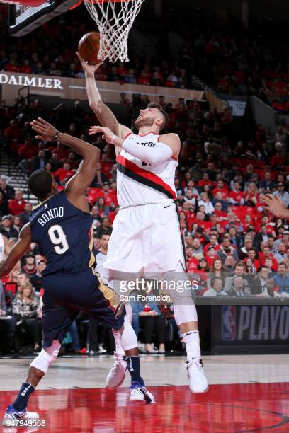 Jusuf Nurkic of the Portland Trail Blazers shoots the ball against the New Orleans Pelicans in Game Two of Round One of the 2018 NBA Playoffs on...