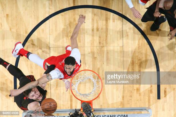 Jusuf Nurkic of the Portland Trail Blazers shoots the ball against the New Orleans Pelicans in Game Three of Round One of the 2018 NBA Playoffs on...