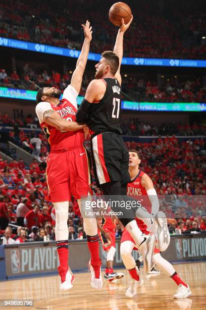 Jusuf Nurkic of the Portland Trail Blazers shoots the ball against the New Orleans Pelicans in Game Four of Round One of the 2018 NBA Playoffs on...