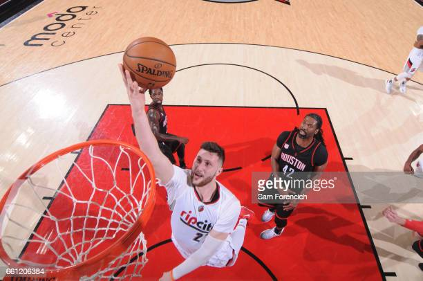 Jusuf Nurkic of the Portland Trail Blazers shoots the ball during a game against the Houston Rockets on March 30 2017 at the Moda Center in Portland...