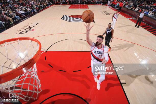 Jusuf Nurkic of the Portland Trail Blazers shoots the ball during the game against the Sacramento Kings on October 20, 2021 at the Moda Center Arena...