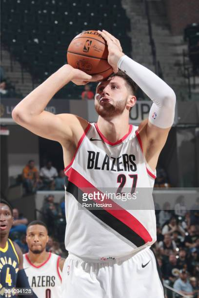 Jusuf Nurkic of the Portland Trail Blazers shoots the ball during the game against the Indiana Pacers on October 20 2017 at Bankers Life Fieldhouse...