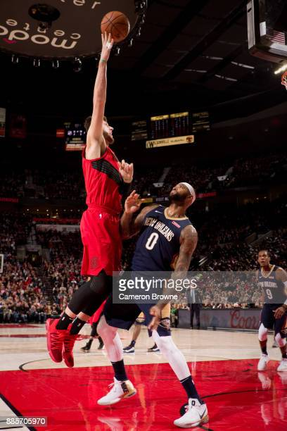 Jusuf Nurkic of the Portland Trail Blazers shoots the ball during the game against the New Orleans Pelicans on December 2 2017 at the Moda Center...