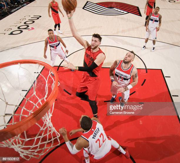 Jusuf Nurkic of the Portland Trail Blazers shoots the ball during the game against the Washington Wizards on December 5 2017 at the Moda Center Arena...