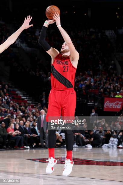 Jusuf Nurkic of the Portland Trail Blazers shoots the ball during the game against the San Antonio Spurs on January 7 2018 at the Moda Center in...