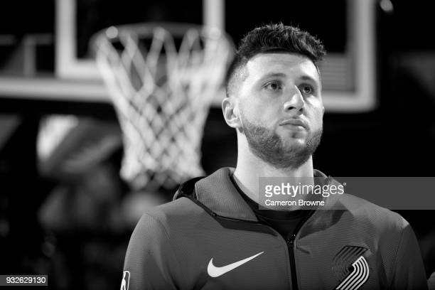 Jusuf Nurkic of the Portland Trail Blazers stands for the National Anthem before the game against the Cleveland Cavaliers on March 15 2018 at the...