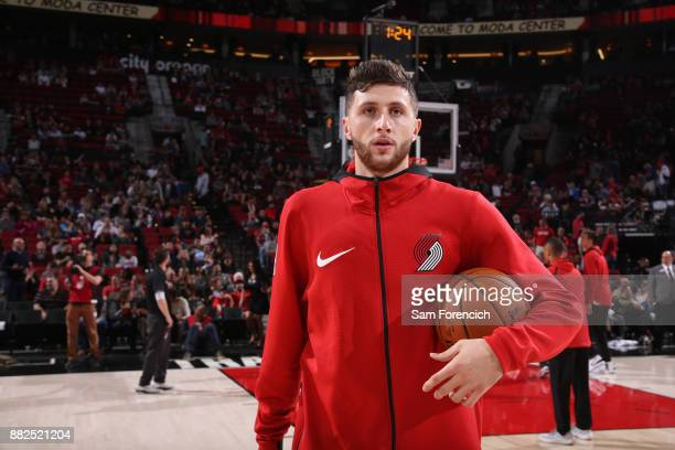 Jusuf Nurkic of the Portland Trail Blazers warms up before the game against the Phoenix Suns on October 28 2017 at the Moda Center in Portland Oregon...