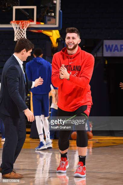 Jusuf Nurkic of the Portland Trail Blazers warms up before the game against the Golden State Warriors on December 11 2017 at ORACLE Arena in Oakland...