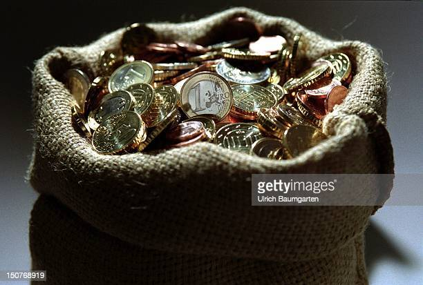 Jute sack filled with Euro coins