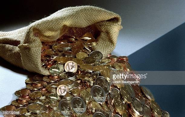 GERMANY BONN Jute sack with Euro coins