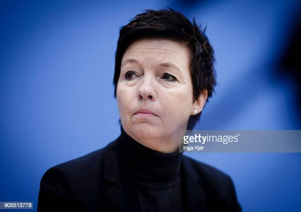 Jutta Cordt head of Federal Agency of Migration and Refugees joins the federal press conference on January 16 2018 in Berlin Germany