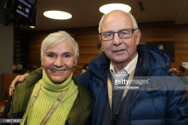 Jutta Hoelzenbein and Bernd Hoelzenbein attend the Club Of Former National Players Meeting at Commerzbank Arena on November 19, 2019 in Frankfurt am...