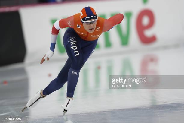 Jutta Leerdam from the Netherlands 500m event of the World Cup skate sprint 2020 in Hamar Norway on February 28 2020 / Norway OUT