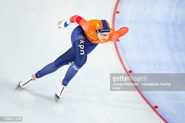Jutta Leerdam of Netherlands competes in the 1st Ladies 1000m Sprint during the Combined ISU World Sprint World Allround Speed Skating Championships...