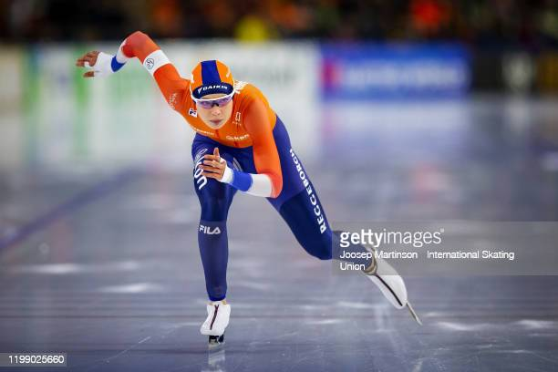 Jutta Leerdam of Netherlands competes in the Ladies 1000m during day 3 of the ISU European Speed Skating Championships at ice rink Thialf on January...