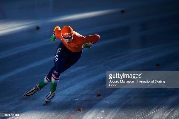 Jutta Leerdam of Netherlands competes in the Ladies 1000m during the ISU Junior World Cup Speed Skating at Olympiaworld Ice Rink on January 27, 2018...