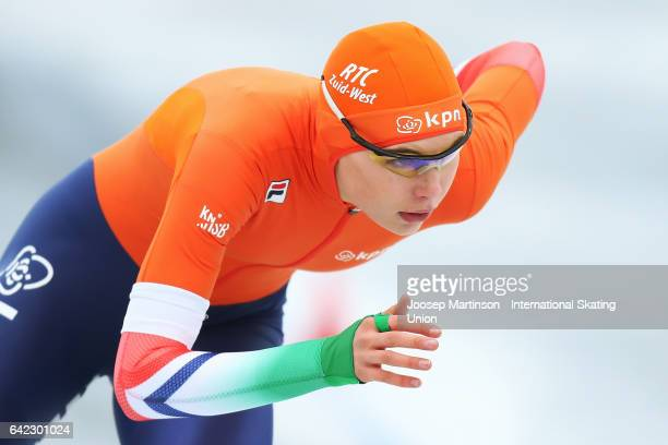 Jutta Leerdam of Netherlands competes in the Ladies 1500m during day one of the World Junior Speed Skating Championships at Oulunkyla Sport Park on...