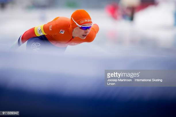 Jutta Leerdam of Netherlands competes in the Ladies 1500m during day two of the ISU Junior World Cup Speed Skating at Olympiaworld Ice Rink on...