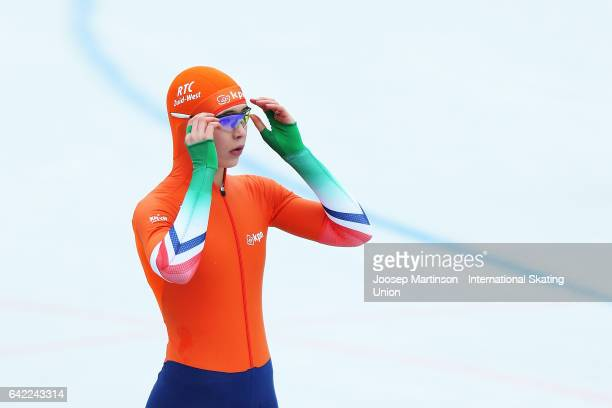 Jutta Leerdam of Netherlands competes in the Ladies 500m during day one of the World Junior Speed Skating Championships at Oulunkyla Sport Park on...
