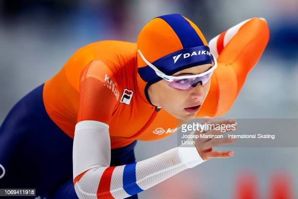 Jutta Leerdam of Netherlands competes in the Ladies 500m during ISU World Cup Speed Skating at Tomaszow Mazoviecki Ice Arena on December 7 2018 in...