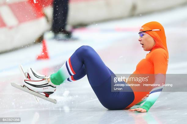 Jutta Leerdam of Netherlands crashes after winning the Ladies 1500m during day one of the World Junior Speed Skating Championships at Oulunkyla Sport...