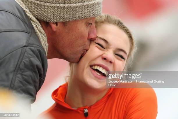 Jutta Leerdam of Netherlands is kissed by her father after she wins the Ladies 1500m during day one of the World Junior Speed Skating Championships...