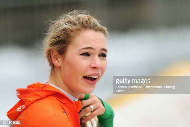 Jutta Leerdam of Netherlands looks on after winning the Ladies 1500m during day one of the World Junior Speed Skating Championships at Oulunkyla...