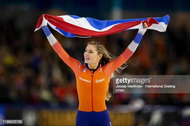 Jutta Leerdam of Netherlands reacts after winning the Ladies 1000m during day 3 of the ISU European Speed Skating Championships at ice rink Thialf on...