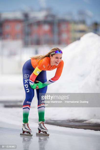 Jutta Leerdam of Netherlands reacts in the Ladies 1500m during day two of the ISU Junior World Cup Speed Skating at Olympiaworld Ice Rink on January...