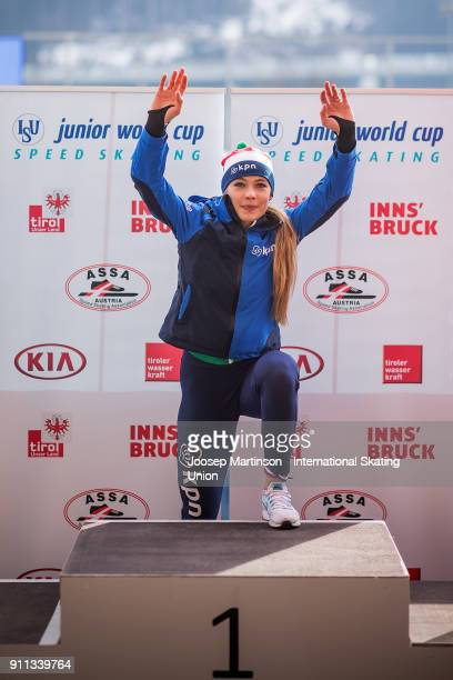 Jutta Leerdam of Netherlands reacts in the Ladies 1500m medal ceremony during day two of the ISU Junior World Cup Speed Skating at Olympiaworld Ice...