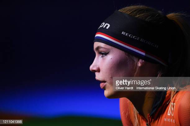 Jutta Leerdam of the Netherland looks on prior to the Ladies 1000 meter final race during the ISU World Cup Speed Skating Final at Ice Rink Thialf on...