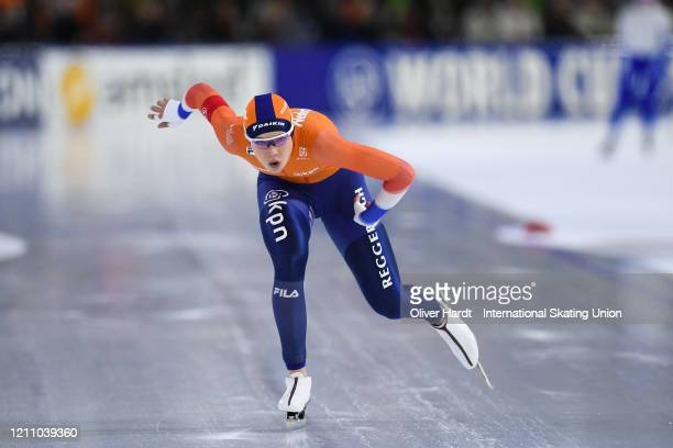 Jutta Leerdam of the Netherland performs in the Ladies 1000 meter final race during the ISU World Cup Speed Skating Final at Ice Rink Thialf on March...