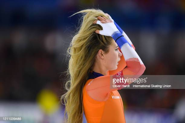 Jutta Leerdam of the Netherland reacts after the Ladies 1000 meter final race during the ISU World Cup Speed Skating Final at Ice Rink Thialf on...