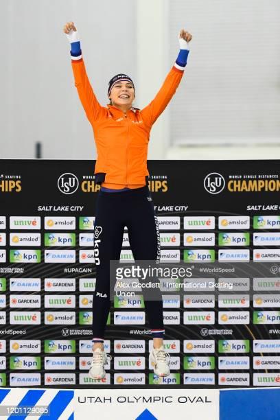 Jutta Leerdam of the Netherlands celebrates after winning the ladies' 1000 meter during the ISU World Single Distances Speed Skating Championships on...