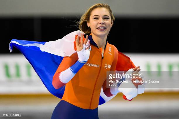 Jutta Leerdam of the Netherlands celebrates after winning the ladies' 1000 meter during the ISU World Single Distances Speed Skating Championships on...