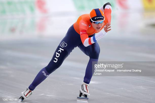 Jutta Leerdam of the Netherlands competes during the ladies second 1000 meter sprint race of Day 3 of the ISU European Speed Skating Championships at...