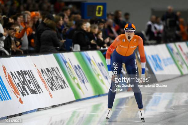 Jutta Leerdam of the Netherlands competes in the ladies' 1000 meter during the ISU World Single Distances Speed Skating Championships on February 15...