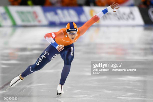 Jutta Leerdam of the Netherlands competes in the ladies' 500 meter during the ISU World Single Distances Speed Skating Championships on February 14...