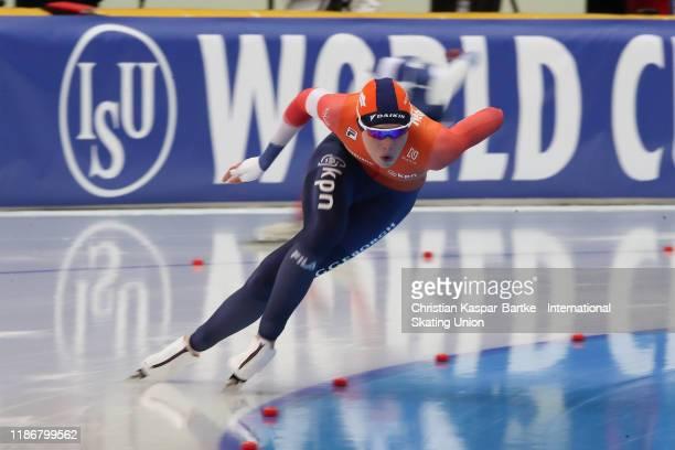 Jutta Leerdam of the Netherlands performs in Women`s 1000m race during the ISU World Cup Speed Skating at on December 6 2019 in NURSULTAN Kazakhstan