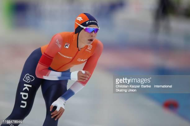 Jutta Leerdam of the Netherlands performs in Women`s 500m race during the ISU World Cup Speed Skating at on December 7 2019 in NURSULTAN Kazakhstan